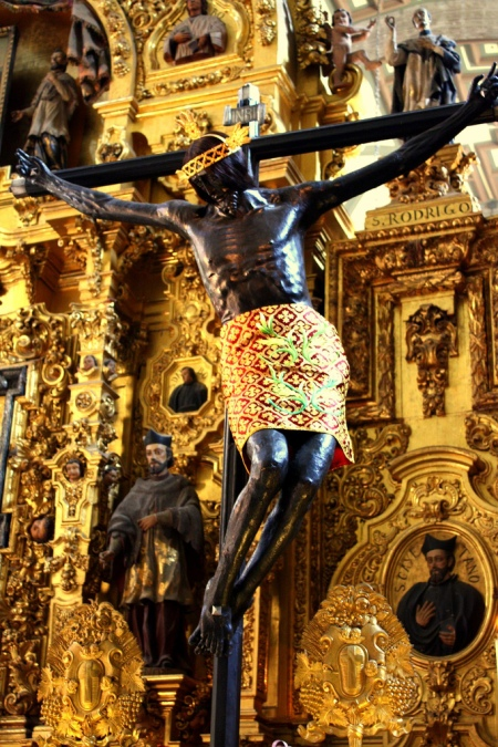 THE FAMOUS BLACK CHRIST OF MEXICO-CRUCIFIXION OF BLACK JESUS,METROPOLITAN CATHEDRAL,MEXICO CITY-PHOTOGRAPHED BY BIALY