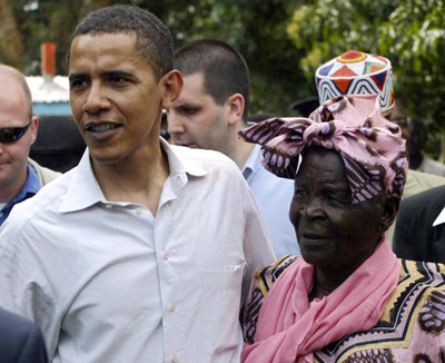OBAMA WITH HIS STEP-GRANDMOTHER ON HIS AUGUST 2006 VISIT TO KENYA