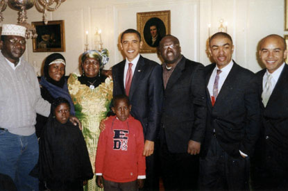 PRESIDENT OBAMA TAKES TIME RIGHT AFTER MOVING IN TO THE WHITE HOUSE TO SHOW HIS STEP-MOTHER MRS KEZIA OBAMA,HIS FATHER'S FIRST WIFE,HIS HALF BROTHER ABONGO(FAR LEFT) AND OTHER RELATIVES BASED IN KENYA AND LONDON.