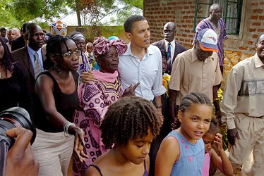 OBAMA THEN  SENATOR IN 2006 VISITED KENYA WITH HIS DAUGHTERS