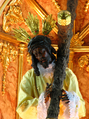 BLACK JESUS IN THE CATEDRAL PLAZA DES ARMAS