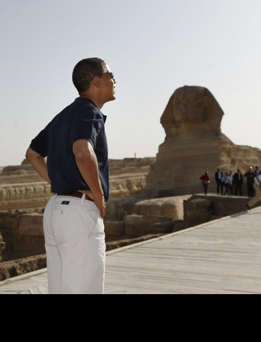 OUR BLACK PRESIDENT IN FRONT OF THE BLACK SPHINX!